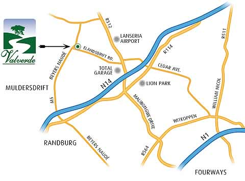 Map to Valverde Country Hotel, Johannesburg Conference Venues
